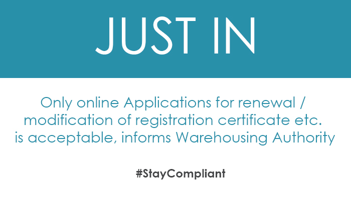 Only online Applications for renewal / modification of registration certificate etc. is acceptable, informs Warehousing Authority
